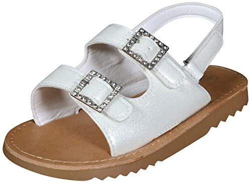 Nicole Miller New York Toddler Girls Open Toe Sandals, White Patent, 10 M US Toddler'