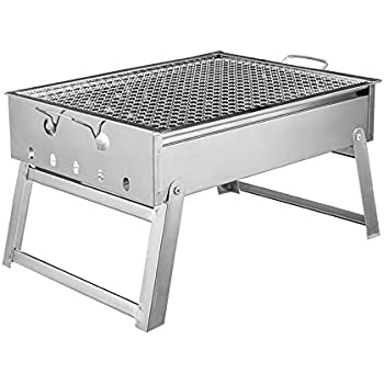 Portable Thickened Outdoor Stainless Steel Folding Charcoal Picnic BBQ Grill  Small Size