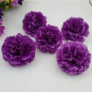 FidgetFidget Artificial Silk Flowers Carnation Heads Party Wedding Home Garden Decor 50X 100X Dark Purple 50pcs 50