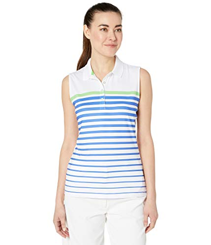 - Callaway Women's Sleeveless Engineered Variegated Striped Printed Polo, Brilliant White, XX-Large