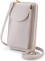 S-ZONE PU Leather RFID Blocking Cellphone Wallet Clutch Purse Zippered Crossbody Bag Phone Pouch