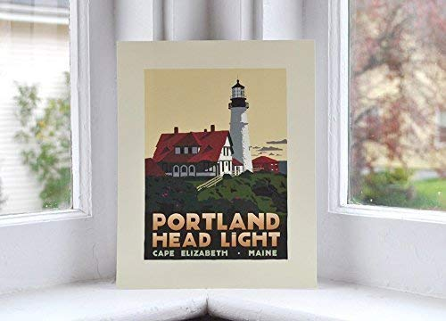 (Portland Head Light, Maine Print (8x10 Lighthouse Travel Poster, Wall Decor Art))