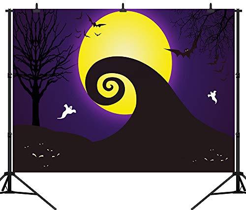 DePhoto 7X5FT(210X150CM) Halloween Backdrop Pumpkin Lantern Yellow Moon Ghost Bat Seamless Vinyl Photography Photo Background Studio Prop PGT274A -