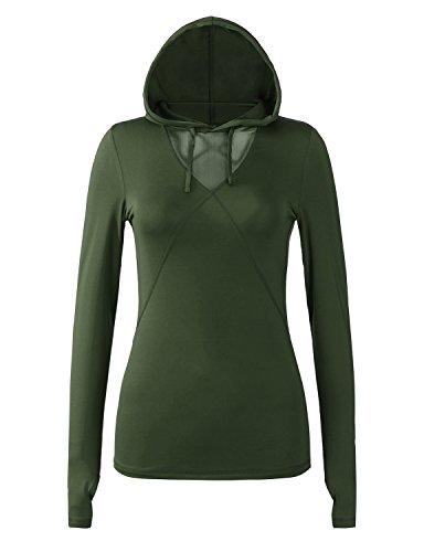 Regna X Women's Deep V Neck Long Sleeve Slim Fit Athletic Yoga T-Shirt Olive M ()