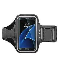 Brazalete J&D compatible con el brazalete Galaxy S7 Edge, brazalete deportivo con ranura para llavero para el brazalete Samsung Galaxy S7 Edge en funcionamiento, conexión perfecta para el auricular mientras se entrena en funcionamiento - Negro