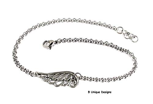 (Angel Wings Charm Filigree Anklet Stainless Steel Rolo with Chain-Mail Women's Personalized Initial Birthstone Jewelry)