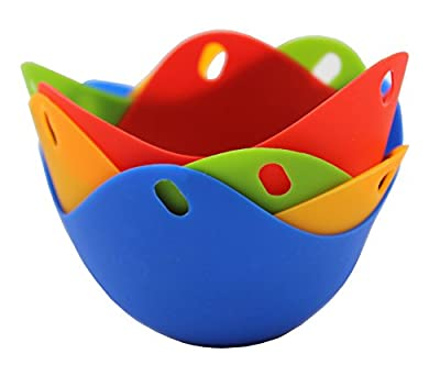 Silicone Non Stick Colorful Egg Poacher Boiler Pods - Egg Cups Cookware, Set of 4