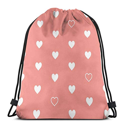 - White Hearts On Coral - Love Heart Valentines Day Baby Girl_206 Drawstring Backpack Gym Spacious Pull String Backpack for Sport School Traveling Gym Basketball Yoga 13x18 inch13x18 inch