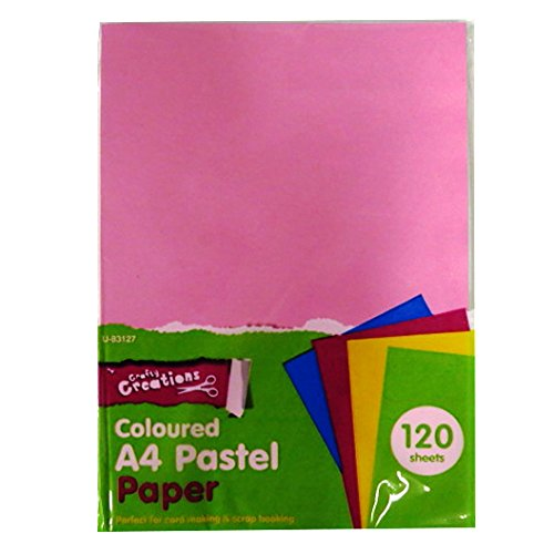 A4 Pastel Coloured Paper - 120 Sheets - Mixed Colours, by Crafty Creations by Crafty Creations