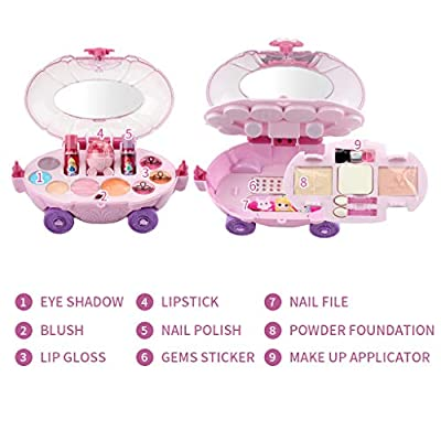 Hasde Washable Makeup Toy Set, Safe & Non-Toxic,Real Cosmetic Beauty Set for Kids Play Game Halloween Christmas Birthday Party: Toys & Games
