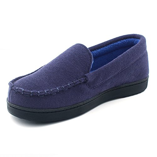 Cozy Niche Women's Moccasin Slippers, Anti-Slip House Shoes, Indoor Outdoor Rubber Sole Loafers (7 B(M) US, Navy Blue) by Cozy Niche
