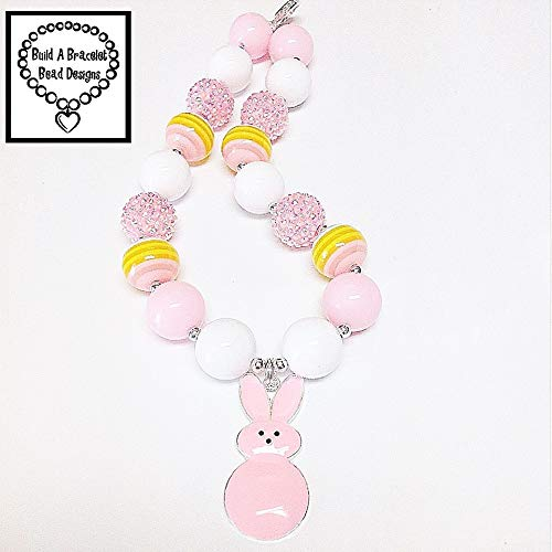 Toddler, Girls, Baby Bubblegum Chunky Pink Bunny Peep Necklace Jewelry Accessory by Build A Bracelet Bead Designs
