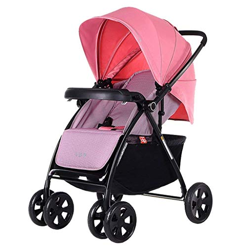 (16-Thundertechs Baby Carriage-Baby Trolley BluePink C Sit Lying Multifunction Two-Way Push Rod Heightening Widen Suspension Easy to Fold with 60L Shopping Basket Baby Carriage (Color : Pink))