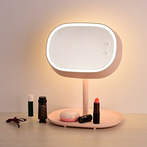 Makeup Mirror Modern Simple Table Lamp Dresser Mirror Charge Dimming Touch LED Table Lamp ( Color : Pink ) by Crystal