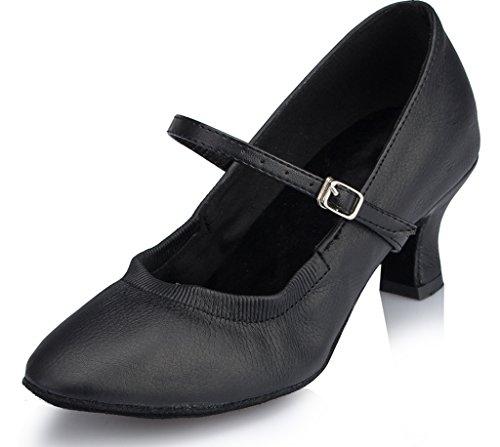 CRC Women's Stylish Almond Toe Black Leatherette Ballroom Morden Salsa Latin Tango Party Wedding Professional Dance Shoes 6.5 M US