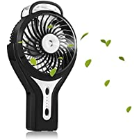 Handheld Misting Fan, HOPESOOKY USB Fan 2200mAh Built in Rechargeable Battery 3 Speeds Personal Cooling Mist Humidifier for Outdoor/Camping/Travel/Office-Black
