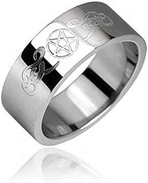 Surgical Stainless Steel Ring with Pentagram and Tribal Designs