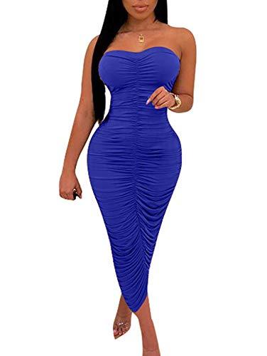 (BEAGIMEG Women's Sexy Ruched Strapless Bodycon Tube Maxi Long Club Dress Royal Blue)