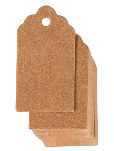 Gift Tags - 1000-Pack Kraft Paper Tags, Merchandise Tags, Writable Tags, Mini Tags, Craft Hang Labels, Name Price Size Labels, for Wedding, Birthday, Party Favor, Kraft Brown, 0.95 x 1.75 inches