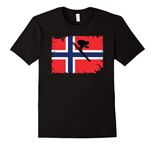 Norway Flag Downhill Skiing T-Shirt