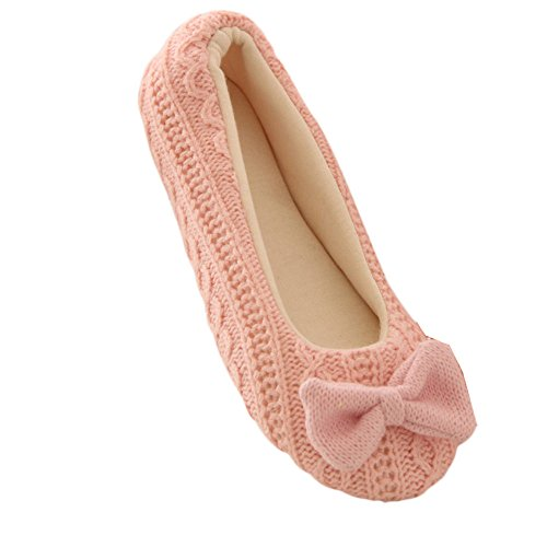 LANDFOX Zapatillas Mujer Inicio Zapatillas Bowknot Hembra Cachemira Caliente Yoga Zapatos rosado