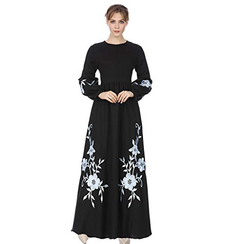 50da309db2e Toponly Women s Elegant Chiffon Muslim Kaftan Dubai Islamic Abayas  Embroidered Long Sleeve A Line Maxi Dress