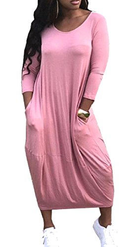 Casual Tunique Ample Solide Manches Longues Femmes Coolred Tees Robe Top Rose