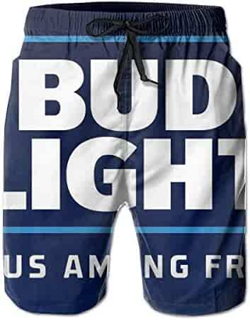 36c7729604 Bud Light Print Design Mens Swim Trunks Summer Quick Dry Board Shorts with  Mesh Lining/