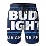 Bud Light Print Design Mens Swim Trunks Summer Quick Dry Board Shorts with Mesh Lining/Side Pockets White