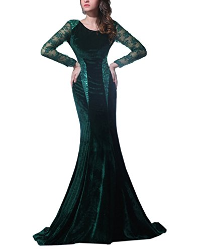 Dark Green Jewel (Beautyfudre Women's Pageant Gown Jewel Lace Long Sleeves Sequin Mermaid Sweep Train Formal Evening Dress Dark Green)