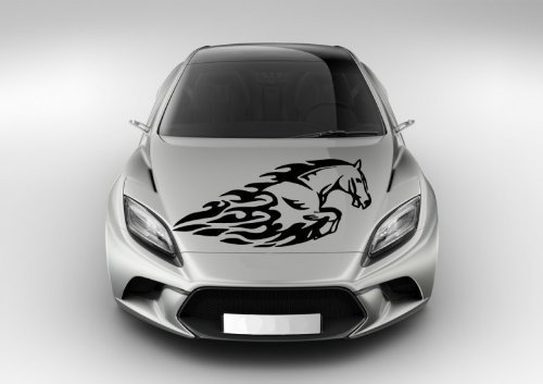 (Vinyl Decal Mural Sticker Tribal Mustang Tattoo Blaze Flame Fire Hood Auto Graphics Fit Car Ar1682 )
