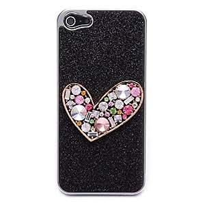 MOFY-Polvo negro Flash Con los corazones del melocot—n Caso duro para el iPhone 5/5S