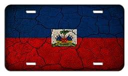 Haiti Flag Crackled Design License Plate