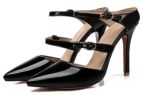 Straps Showhow Toe Sandals On Women's Pointy Party Two Elegant Black Slide Mules YYqIr