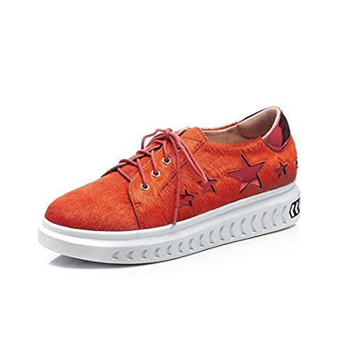 Zapatos Deportivos de Mujer Zapatos Deportivos de Mujer de Cinco Estrellas Zapatos Planos con Zapatos de Cordones Gruesos Zapatos de Mujer (Color : Naranja, tamaño : 36)