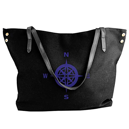 North South East West Canvas Shoulder Bags For Women Casual Messenger Bags Shopping Tote