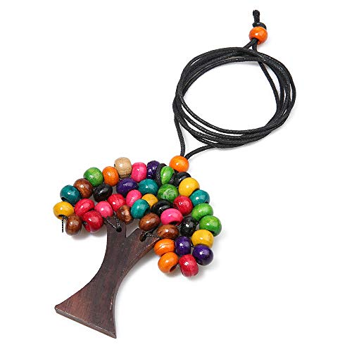 - BALIBALI Handmade Boho Long Statement Necklace Tree of Life Women Multicolor Natural Wooden Beads Pendant Sweater Necklace for Women