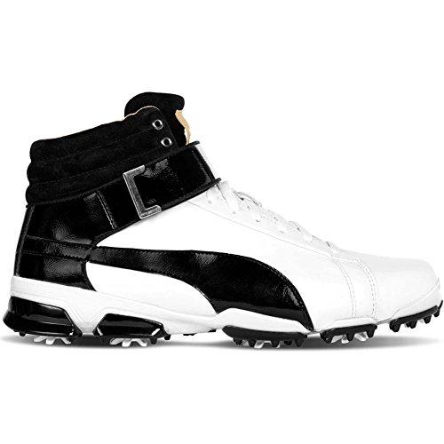PUMA Golf Unisex Titantour HI-TOP SE JR. Golf Shoe, White Black, 7 Medium Youth US Big Kid