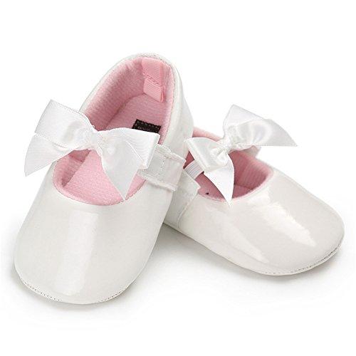 LINKEY Baby Girls Shiny Patent Leather Mary Jane Princess Dress Flat Shoes with Bowknot