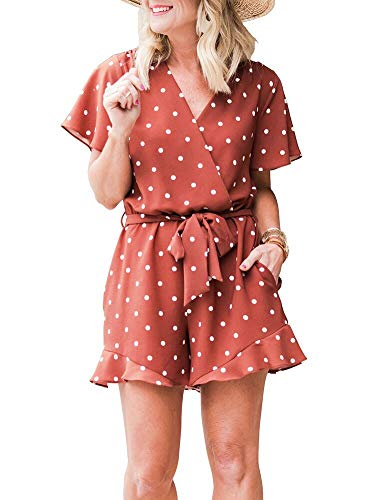 LACOZY Womens Summer Loose Polka Dot V Neck Ruffles Sleeve Short Jumpsuit Rompers Brown X-Large