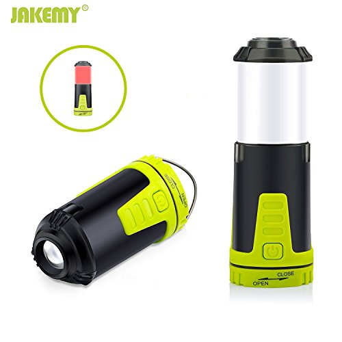 Flashlight Lantern 2 Pack, Jakemy 2 in 1 Magnetic Base Led Camping Lantern Travel Equipment Gear Lights with 5 Modes Light for Hiking, Emergencies - Waterproof, Collapsible, Shockproof