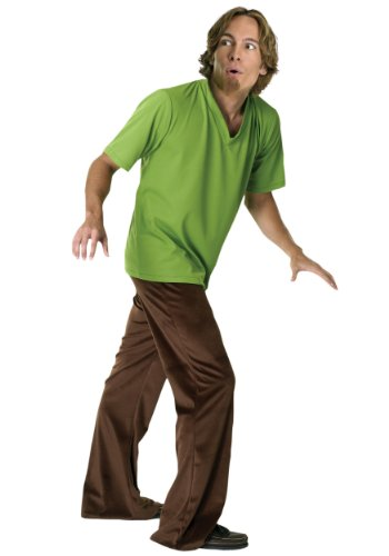 Rubies Mens Deluxe Shaggy Scooby Doo Theme Party Fancy Dress Costume, Standard (up to 44)