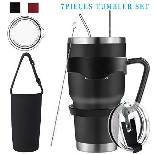 20oz/30oz Tumbler, Travel Coffee Mug Set for Cold & Hot Drinks. Double Wall Stainless Steel Vacuum Tumbler With Splashproof Lids, Straws, Brush, Handle, Tumbler Sleeve (30oz Black Kit, 30oz)