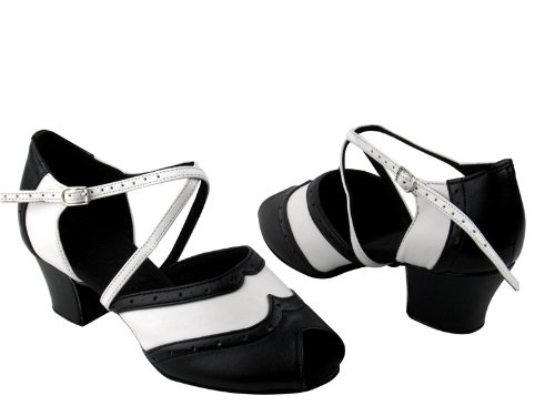 Ladies Women Ballroom Dance Shoes from Very Fine C6035 Black & White 1.6 Cuban Heel 3boX6O