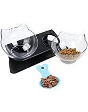 Aqueous Cat Elevated Bowl,Pet Feeding Bowl   Raised The Bottom for Cats and Small Dogs ,Cute Cat Face Double Bowl (Black),Dog Water Bowl,Dog Food Bowl