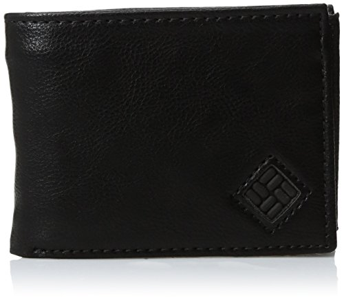 Columbia Leather (Columbia Men's Leather Extra Capacity Slimfold Wallet,Black Stitched)