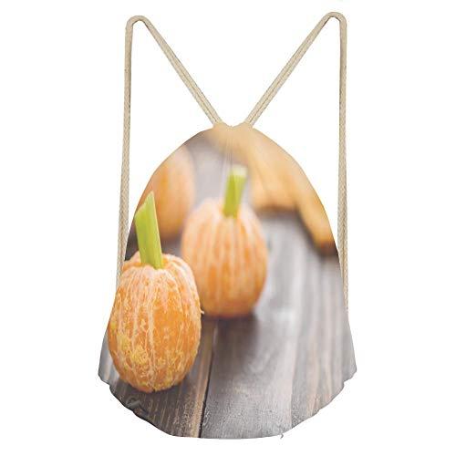 Sports Drawstring BackpackHealthy Halloween Food Tangerine Pumpkins Snack -