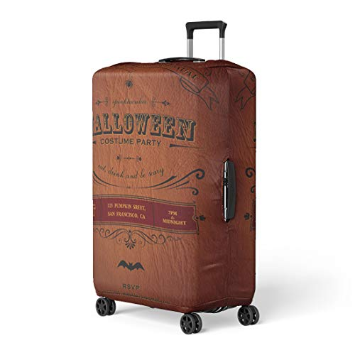 (Pinbeam Luggage Cover Orange Vintage Halloween Party Label Classic October Announcement Travel Suitcase Cover Protector Baggage Case Fits 18-22)