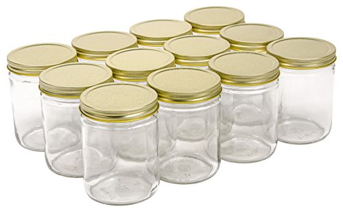 North Mountain Supply 16 Ounce Glass Wide Mouth Straight-Sided Canning Jars -...