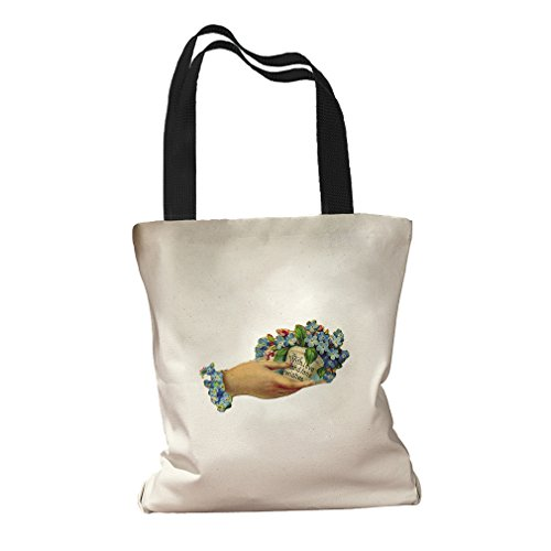 Love Fond Wishes Holding Flower Holidays Canvas Colored Handles Tote Bag   Black